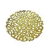 RAAYA Trays And Baskets Decorative For Weddings | Basket Tray For Multipurpose | Decorative Trays For Marriage (Gold Round Medium) (Model No - 10986)