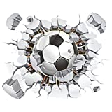 SODIAL(R) 3D Football Wall Sticker PVC Art Soccer Crack Decal Boys Room Mural Decor