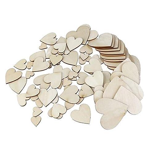 Skitic 100 Stück Holzherzen Verzierungen Unlackiert Natürliche Pfirsich Herz Holz Scheiben DIY Handwerk Embellishments für Hochzeit-Weihnachtsschmuck (Holz Farbe,