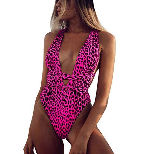 Elecenty Sexy Cuello en V Trajes de baño de una Pieza para Mujer Vendajes Estampado de Leopardo Conjuntos de Bikinis Tankinis Deporte bañadores