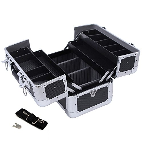 Songmics® Kosmetikkoffer XXL groß für Gepäck 36,5 x 22 x 25 cm Alu, Schwarz JBC228