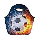 Nopersonality - Fiambrera con aislamiento térmico para hombres, escolar, niños, bolsa de almuerzo, neopreno, Football Pattern-3, small