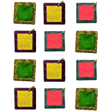 D'Amour Handcrafted Colourfull Decorative Diya (Set Of 12,Square)