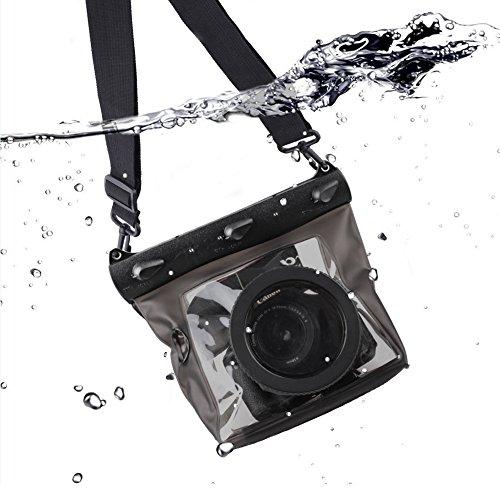 Meiwo 20m DSLR Unterwasser Universal Wasserdicht Gehäuse Hülle Wasserdichter Kameratasche Tasche Entworfen für Outdoor / Unterwasser Aktivitäten Kompatibel für Canon / Nikon / Fuji / Pentax / Samsung / SONY / Panasonic Und andere Marken(Braun)