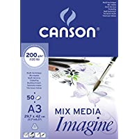 Canson Imagine - Bloc papel de dibujo, A3-29.7 x 42 cm, color blanco puro