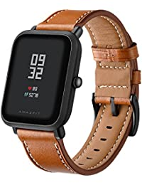 Aresh for Huami Amazfit Bip Youth Correa de Piel de Repuesto Ajustable, Correa de Repuesto Deportiva DE 20 mm para Huami Amazfit Bip Youth…