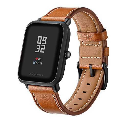 Aresh for Huami Amazfit Bip Youth Correa de Piel de Repuesto Ajustable, Correa de Repuesto Deportiva DE 20 mm para Huami Amazfit Bip Youth Fitness Watch, Color HM-Brown
