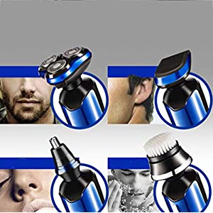 Electric Shaver for Men, Electric Razor Rotary Beard Trimmer Nose Hair Trimmer Face Cleaning Brush Waterproof Wet and Dry USB Rechargeable 4 in 1 Shaving Machine