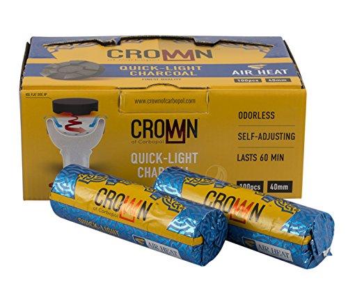 Carbopol Crown 40mm | selbstzündende Shisha Kohle 1 Box 100 Stück