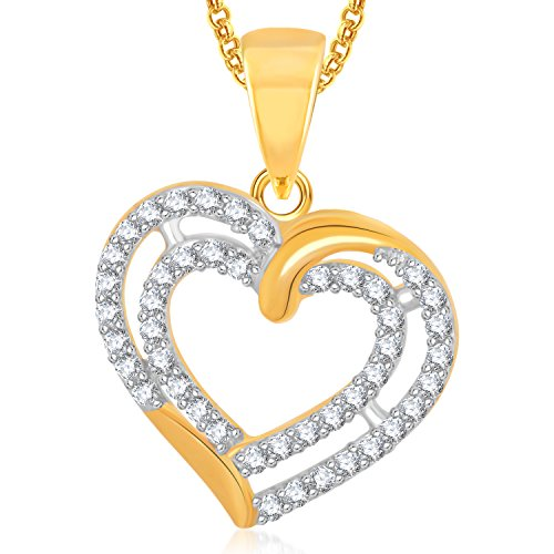 Meenaz Gold Plated Heart Pendant Locket Love Valentine Gifts With Chain In American Diamond Cz Jewellery Set For Girls Women PS357  available at amazon for Rs.249