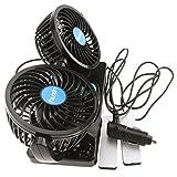 Voiture Ventilateur pour voiture doubles têtes rotatives 12 V plug de Prise d'allume-cigare rotatives 360 ° réglable