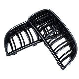RISHIL WORLD Pair Gloss Black Double Slat Sport Kidney Grille Grill Set for BMW E90 E91 05-08