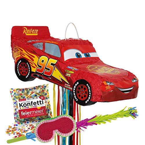 Cars Lightning McQueen Pinata Set: All-In Pinata & Schläger & Maske & Konfetti - Kindergeburtstag, Kinder-Feiern, Geburtstag, Cars-Motto Disney Lizenz