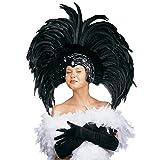 NET TOYS Samba Feder Kopfschmuck Karneval Federschmuck schwarz Brasilien Federkopfschmuck Rio Kopfbedeckung Sambatänzerin Kostüm Schmuck Showtanz Kopf Accessoire