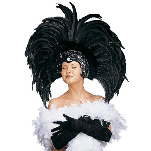 NET TOYS Samba Feder Kopfschmuck Karneval Federschmuck schwarz Brasilien Federkopfschmuck Rio Kopfbedeckung Sambatänzerin Kostüm Schmuck Showtanz Kopf Accessoire (Samba Kostüm Kopfschmuck)