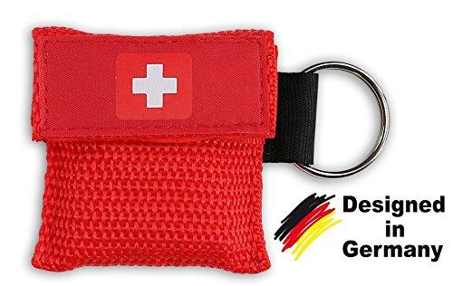 4x Erste Hilfe Beatmungsmaske als Schlüsselanhänger - Beatmungshilfe mit Einwegeventil - hygienische Mund zu Mund Beatmung für Ersthelfer - SOS Beatmungsbeutel - CPR Maske von be fancy! (4, Rot) (Beutel-ventil-maske)