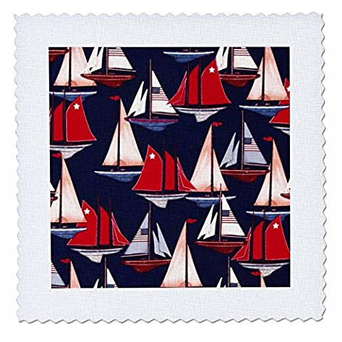 3dRose qs_60548_2 Sailboats N Schooners with USA Flags on Navy Quilt Square, 6 by 6