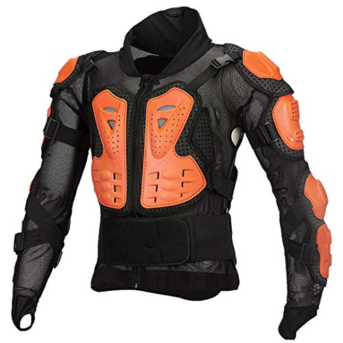 Gratydallks Motorrad Body Jacket Protector Moto Off Road Reiten Racing Neck Guard Schutzausrüstung Orange 4XL
