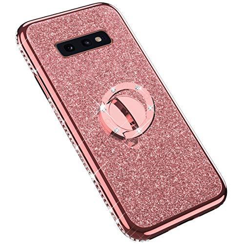 Uposao Kompatibel mit Samsung Galaxy S10e Glitzer Handyhülle Kristall Bling Strass Ultradünn TPU Silikon Hülle Case Tasche Transparent Handytasche mit Ring Ständer Halter,Rose Gold Bling Strass Case