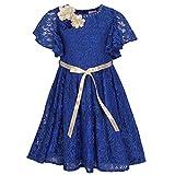 Cutecumber Girls Lace Fabric Embellished Blue Bell Sleeve Dress-(DR-CC696D-Blue-16)