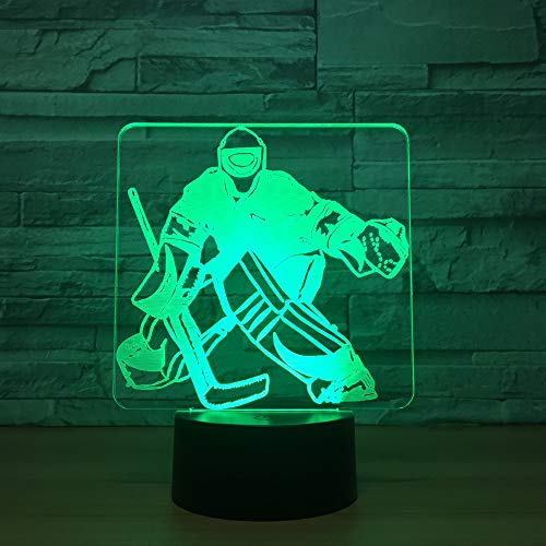 3D Nachtlicht Led Nachtlicht 7 Farbwechsel Lampe Acryl Hologramm Hockey Illusion Schreibtischlampe Geschenk Dekoration Beleuchtung für Kinder und Freunde,Remote and touch (Hockey Minion)