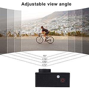 Cámara de Acción Cámara Deportiva Wi-Fi 12MP Full HD 1080P Cámara Impermeable, Lmpermeable hasta 30m 2.0 '' LCD 170 ° Ultra Gran Angular con Kit de Accesorios