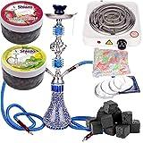NOVESTE 55cm Blau Shisha Wasserpfeife Set, inkl. Hookah, Weiß Kohleanzünder, Shishakohle, Tinfoil, Mundstücke, und 200gr Shiazo Dampfsteine