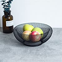 Frutero redondo, cuenco nordico innovador de doble capa de hierro, arte, fruta, cuenco para cocina/mesa negro