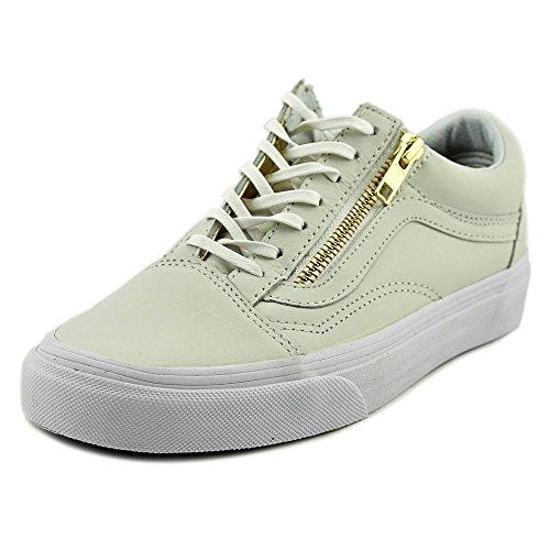 Vans Old Skool Zip Cuir Baskets True White- Gold