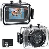 """Foxnovo 123S Appareil photo/caméscope étanche 10m à écran tactile 2"""" avec carte Micro SD/TF 32Go Noir"""