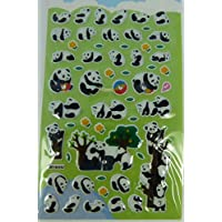 Puffy Stickers with Diamante - Panda (green)