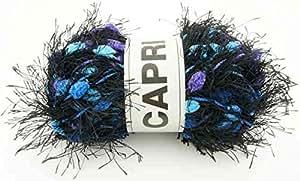 Pelote de laine pompon oke capri - Noir Bleu Violet