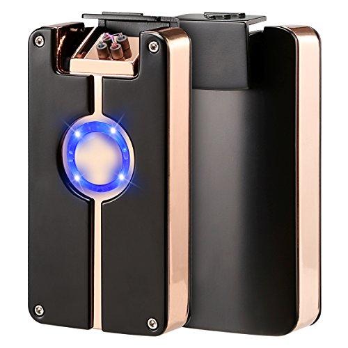 Qimaoo 4 - Mechero electrónico USB de arco eléctrico doble, encendedor de cigarrillos sin llama, recargable, respetuoso con el medio ambiente, funciona en días de viento, negro / rosa