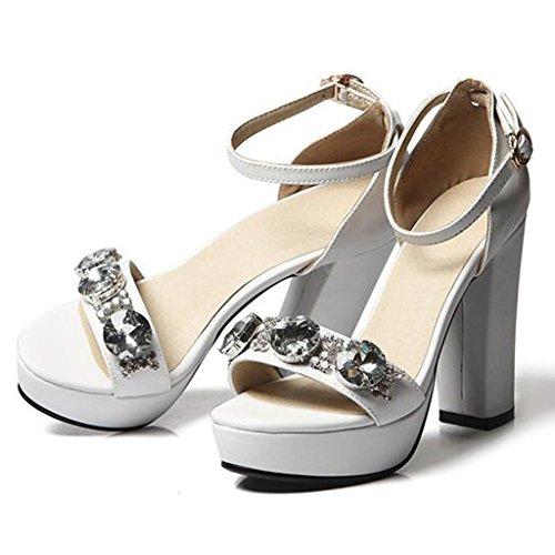 W & Lm Miss High Heels Sandales Strass Hauts Talons Sandales À Bout De Pied En Cuir Véritable Chaussures Occasionnels Blanc