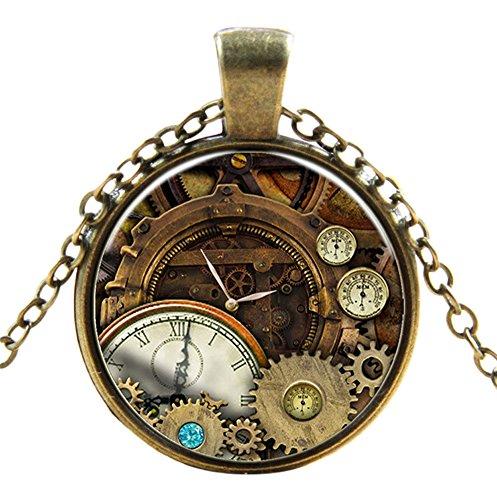 Ultra ® Watch Zahnräder Stil Classic Unisex Steampunk Halskette Great Style Unisex Gothic Cosplay Vintage Cyber Männer Frauen Schmuck Cosplay Schädel Zahnräder Designs (Zahnradstil ()