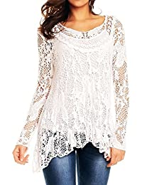 STYLISH LADIES WOMENS ITALIAN LAGENLOOK LACE CROCHET MESH TUNIC LONG SLEEVE TOP VEST TWIN SET SIZE 12 14 16 18 20 22