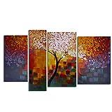 Raybre Art® 4pcs/set 100% Handgemalt Gemälde auf Leinwand - Ölgemälde Moderne Abstrakte Bilder Große - Wandbilder Landschaft Herbst Baum Bunt Blätter Warme Farben für Home Decoration Schlafzimmer, kein Rahmen
