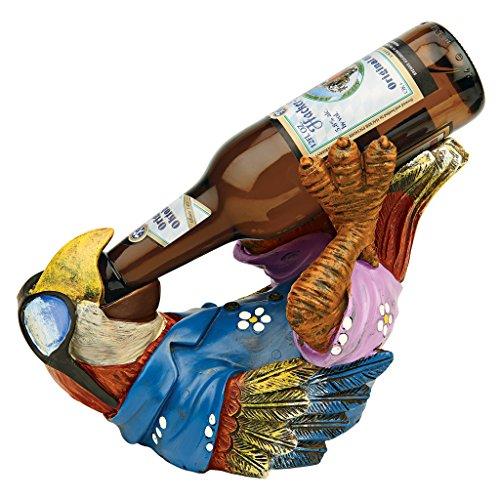 Design Toscano Bierkumpel Tropischer Tiki Papagei Flaschenhalterstatue, Polyresin, Vollfarbe, 15,2 x 25,4 x 17,8 cm