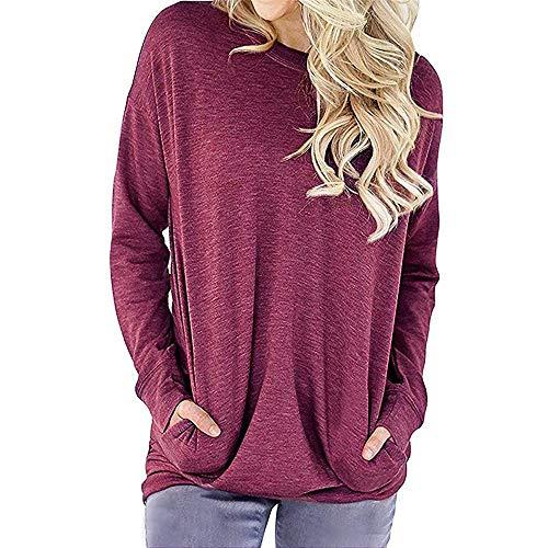 Damen Tshirt,Geili Frauen Lose Casual Langarm Baumwolle Solide Taschen T-Shirt Sweatshirt Blusen Tops Damen Herbst Basic O-Ausschnitt Oberteile Hemd