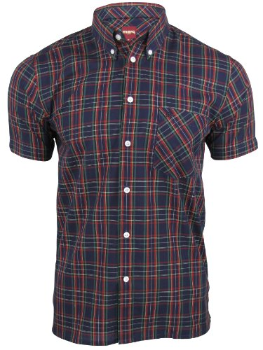 Merc of London Herren Smoking Hemd Mack, Shirt, Short Sleeve Marine