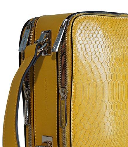 Borsa donna mini bag David Jones in ecopelle lavorazione effetto rettile, modello a doppio scomparto, portabile a mano e a tracolla Nero