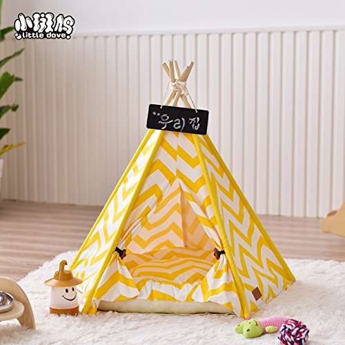 CLS Little Dove Haus und Zelt mit Spitze für Hund Katze & co Haustier, abnehmbar und waschbar mit Matraze Gelb/Weiss (Indoor-hundehütte Für Mittelgroße Hunde)
