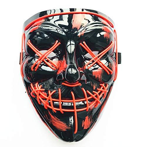 Mann Kopf Kostüm Roten - TIREOW LED Mask 3 Flash-Modus Masken Halloween Karneval Party Kostüm Cosplay Frauen Männer (Rot)