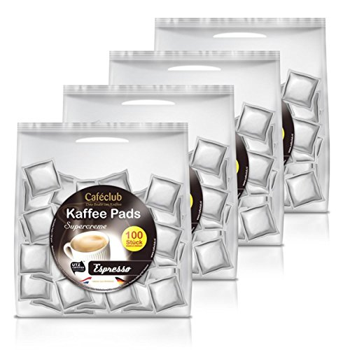 4x Cafeclub Espresso Kaffeepads Megabeutel je 100 stk. dunkle Röstung einzeln verpackt