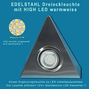 led edelstahl dreieck unterbauleuchte 12v 2 5w ohne schalter mit 1 8m kabel von jac beleuchtung. Black Bedroom Furniture Sets. Home Design Ideas