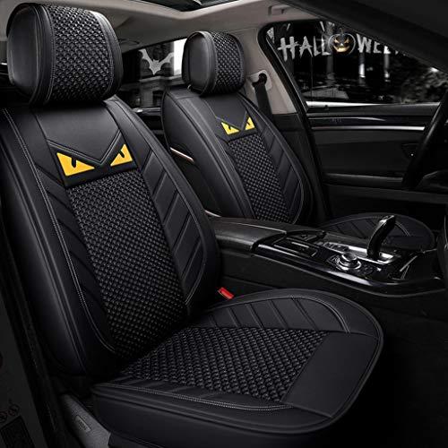 Yunchu Auto sitzbezüge Autositzbezug atmungsaktiv verschleißfest Four Seasons Universal PU Leder & Ice Silk Nähte (Color : Black Standard)