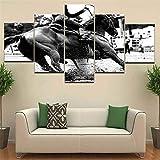 Rjjrr Masters Equestrian Silhouette Black White Landscape Print Poster 5 Panel Oil Picture For Home Decor Wall Art Canvas Painting Decor del dormitorio 30x40cm