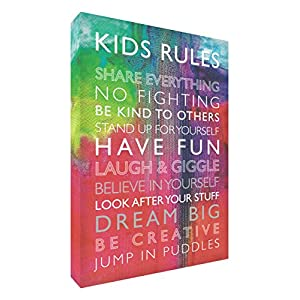 Feel Good Art Gallery Wrapped Box Canvas with Solid Front Panel (40 x 30 x 4 cm, Medium, Multi-Coloured, Kids Rules)