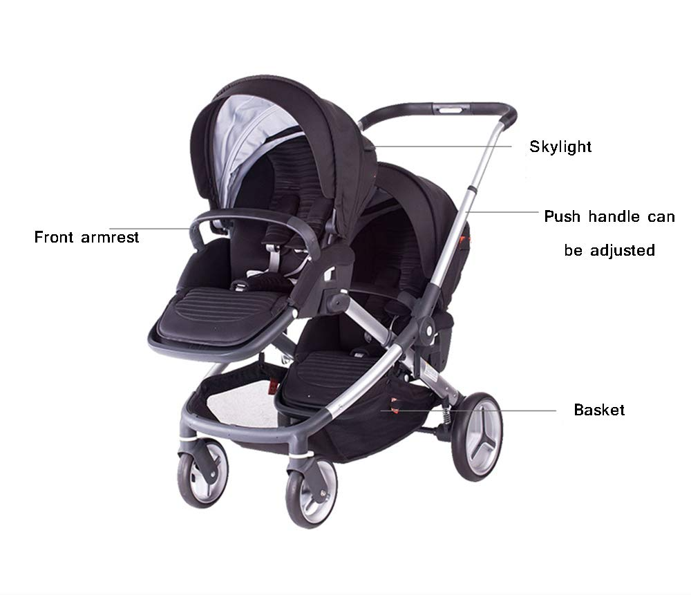 MYRCLMY Baby Strollers Double Pushchair Twins Tandem Pushchair,Lightweight With Convertible Bassinet Stroller Extended Canopy/Large Storage Basket MYRCLMY *LIGHTWEIGHT - Travel-friendly lightweight design is perfect for traveling and day trips. *EXTRA SPACE - Multi-position tilting seat and rotating calf support can be easily adjusted to ensure baby comfort; large storage basket and two integrated seat back pockets provide extra space for your baby. *RECLINING SEAT -- Reclining seat offers 5-point safety restraint system and accommodates child to 50KG per seat. 6