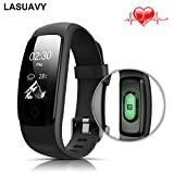 LASUAVY Fitness Tracker with Heart Rate Monitor - Slim Touch Screen and Wristbands for Android and iOS Black